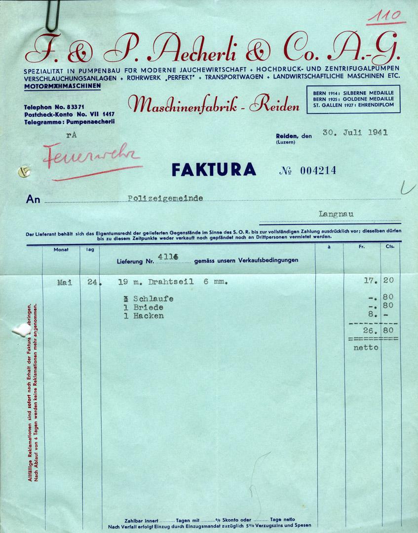 Bilder Maschinenfabrik Aecherli - Kategorie: Aecherli - Bild: